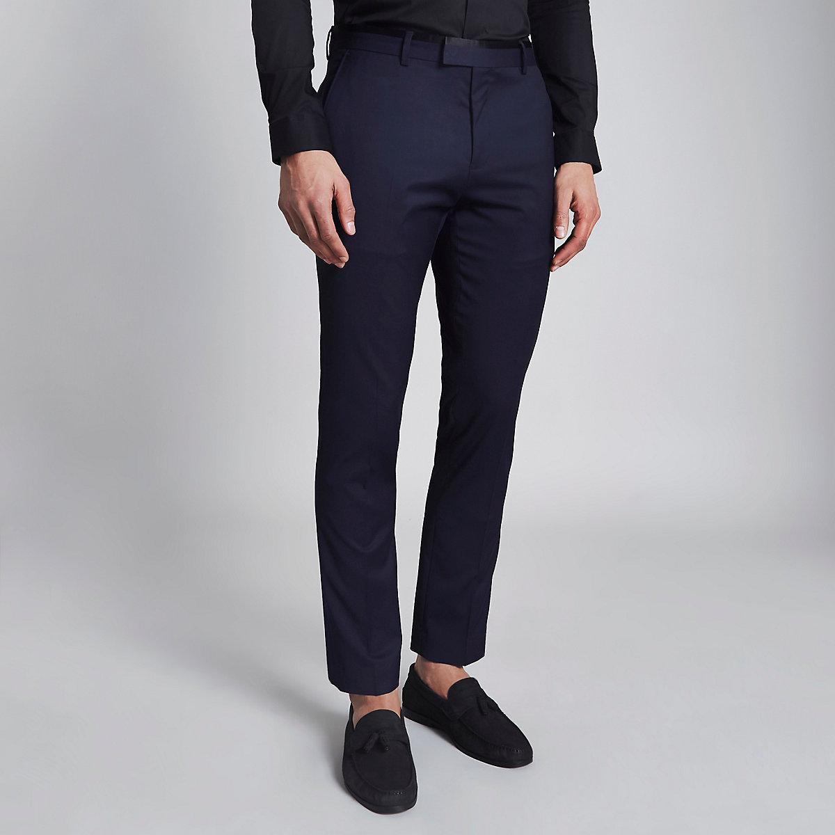Navy skinny tuxedo pants