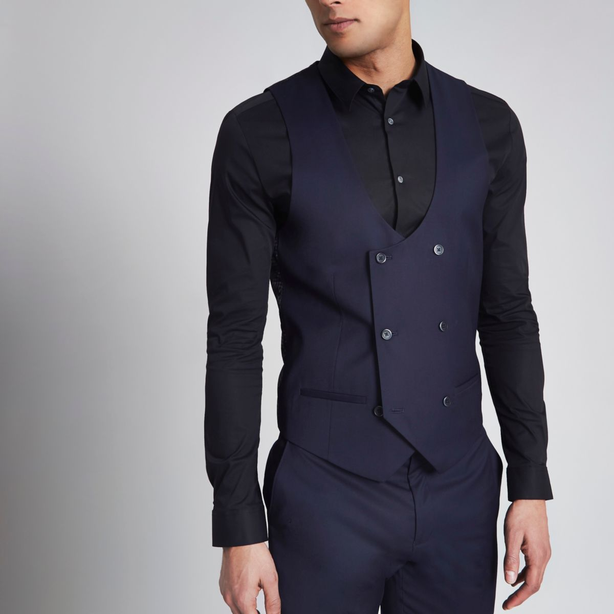 Navy double breasted tuxedo waistcoat