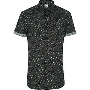 Chemise ajustée à fleurs verte à manches courtes
