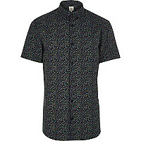 Blue floral muscle fit short sleeve shirt