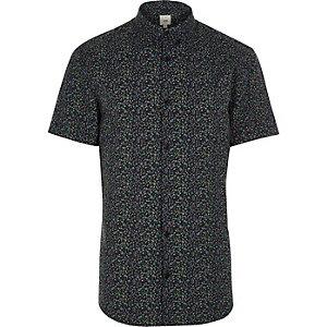 Blauw gebloemd aansluitend overhemd met korte mouwen