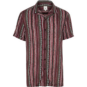 Purple aztec stripe short sleeve shirt