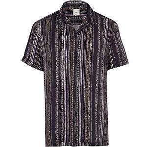 Chemise à motif aztèque rayé bleu marine à manches courtes