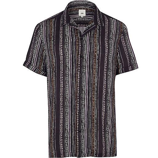 Navy aztec stripe short sleeve shirt