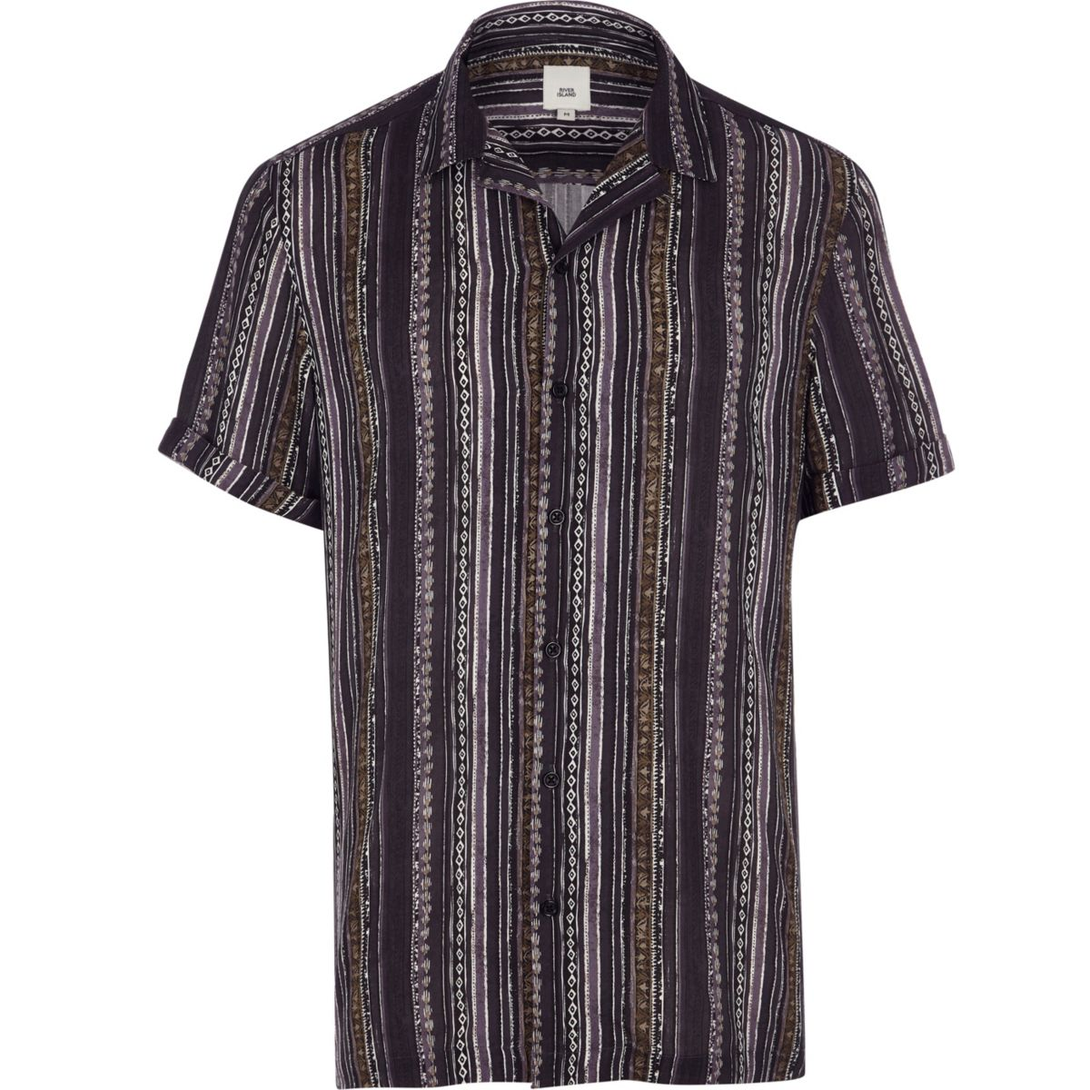 Navy aztec stripe short sleeve shirt