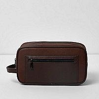Brown zip front wash bag
