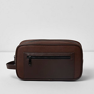 Brown zip front wash bag
