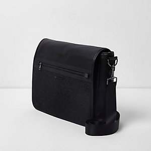 Dark grey flapover satchel bag