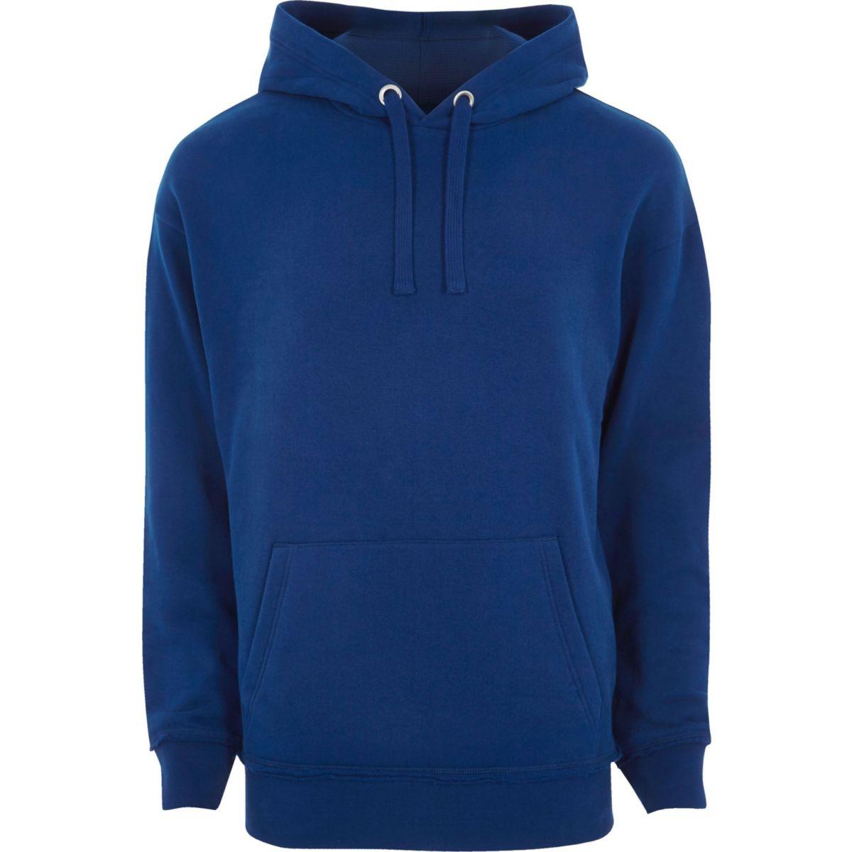 Big and Tall blue long sleeve hoodie