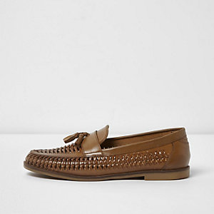 Tan woven leather tassel loafers