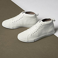 White textured lace-up hi top sneakers