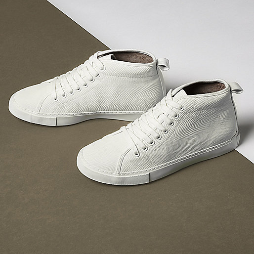 White textured lace-up hi top trainers