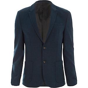 Teal blue skinny fit blazer