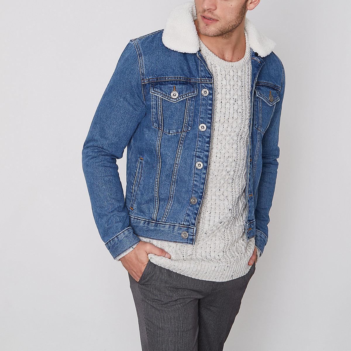 Blue borg lined denim jacket