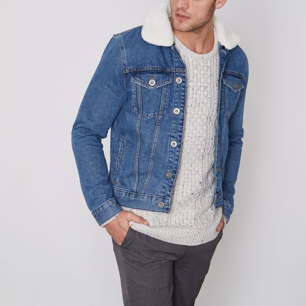 Blue fleece lined denim jacket