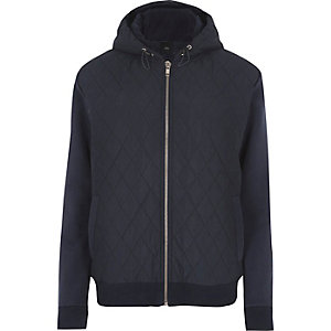 Navy quilted puffer jersey sleeve hoodie