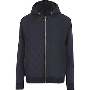 Sweat à capuche bleu marine matelassé à manches en jersey