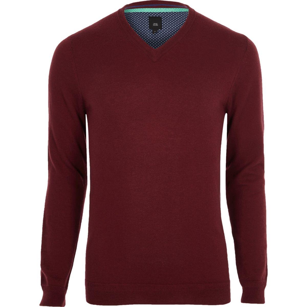 Dark red cashmere blend V neck jumper