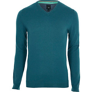 Groen-blauwe pullover van gecombineerd kasjmier met V-hals