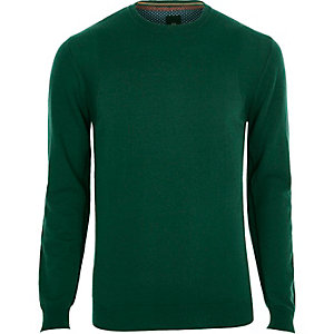 Dark green cashmere blend crew neck sweater