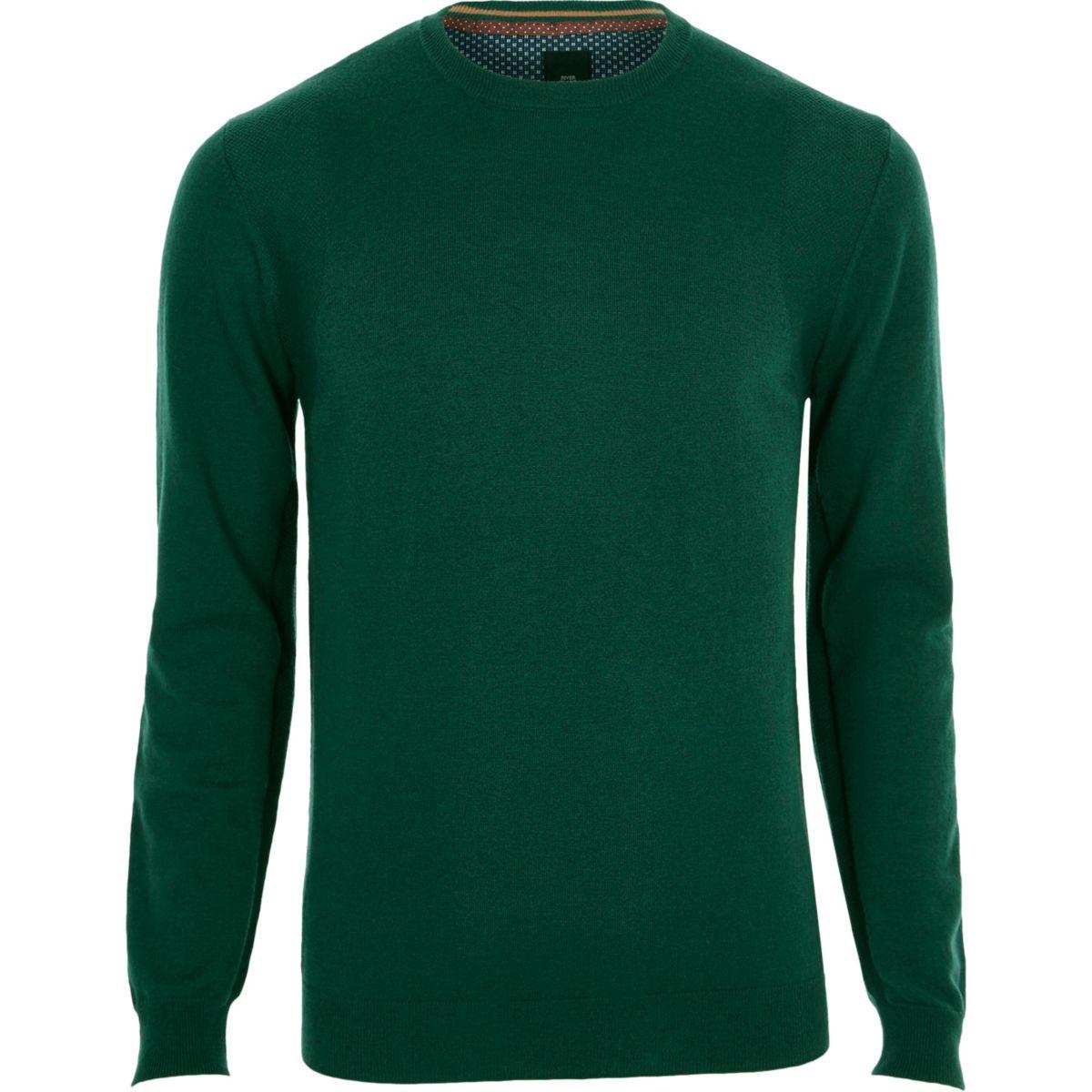 Dark green cashmere blend crew neck sweater