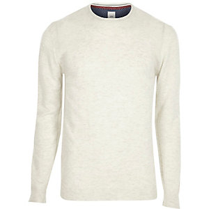 Cream cashmere blend crew neck sweater