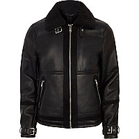 Big and Tall black faux shearling jacket