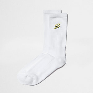 White lightening bolt embroidery tube socks