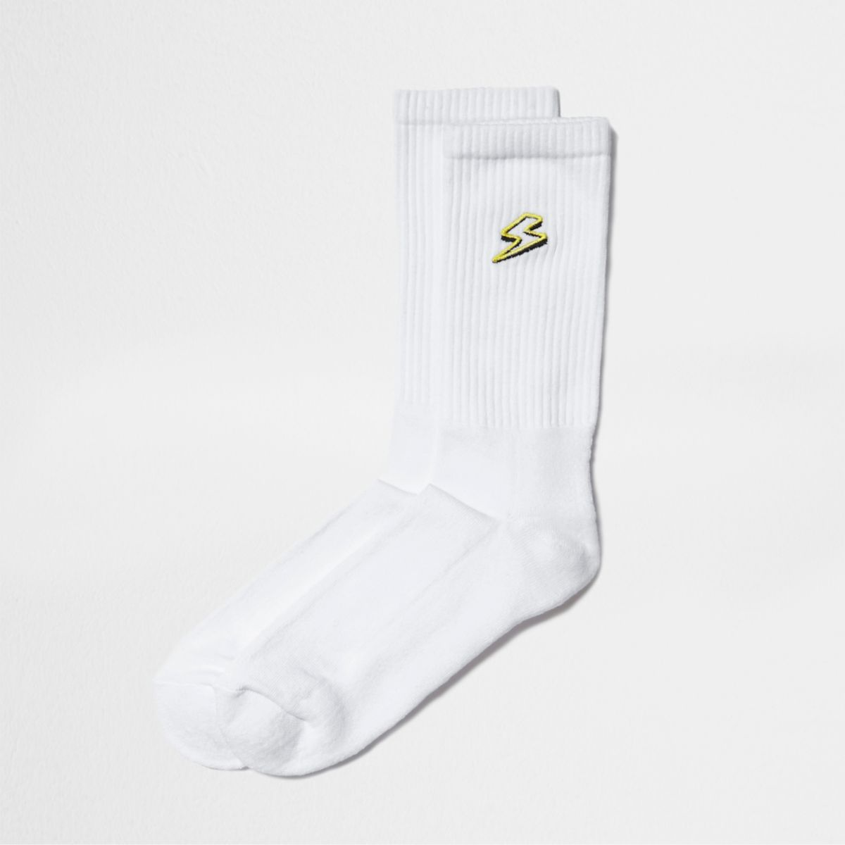 White lightening bolt embroidery tube socks