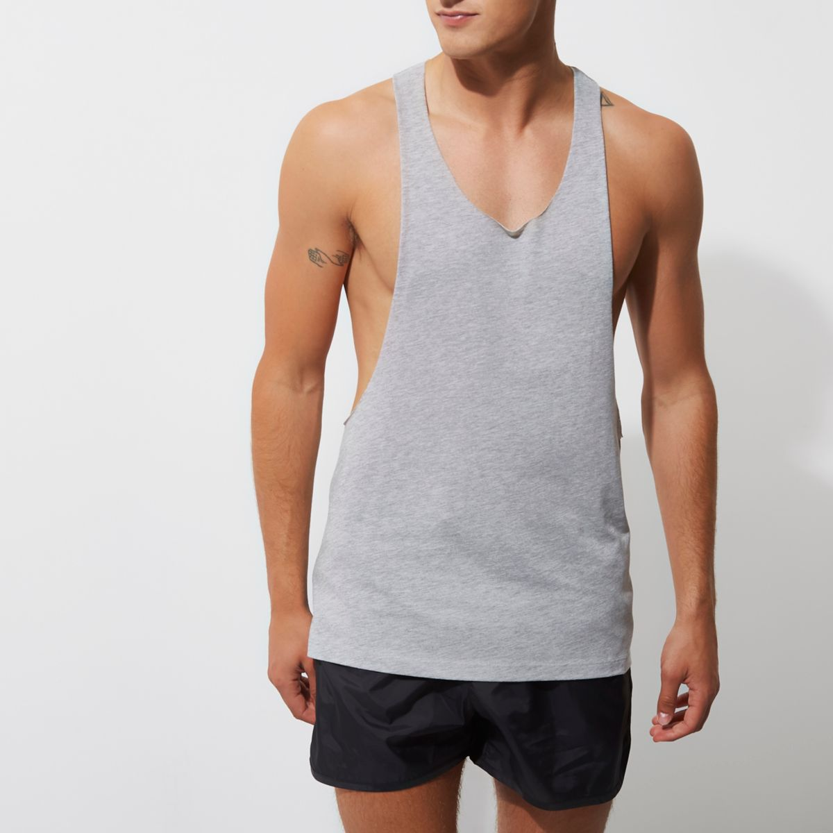 Grey dropped armhole racer back tank