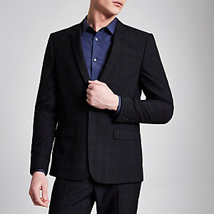 Navy check skinny suit jacket