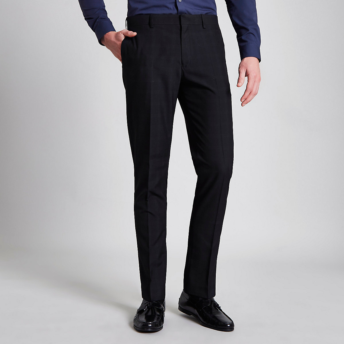 Navy check print skinny fit suit pants