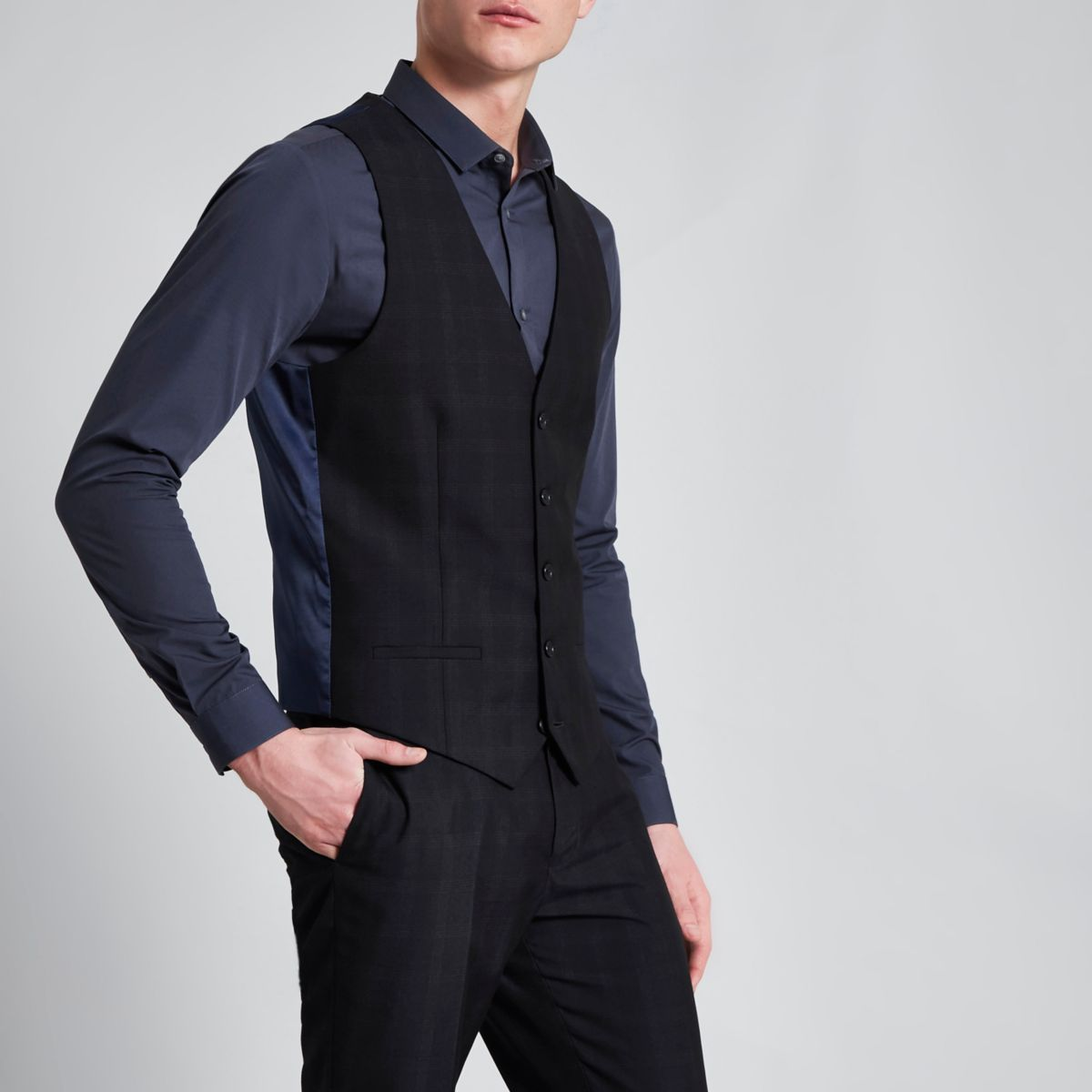 Navy check print smart suit vest