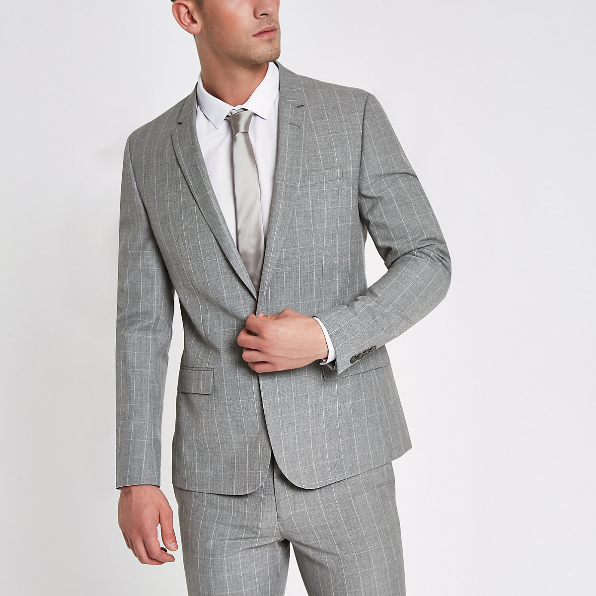 Grey check skinny fit suit jacket