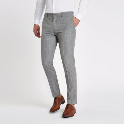 River Island Pantalon de costume skinny à carreaux gris