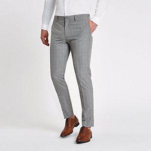 Pantalon de costume skinny à carreaux gris