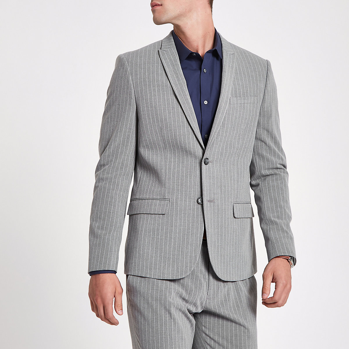 Grey stripe peak lapel suit jacket