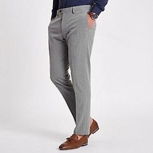 Grau gestreifte Skinny Fit Anzughose