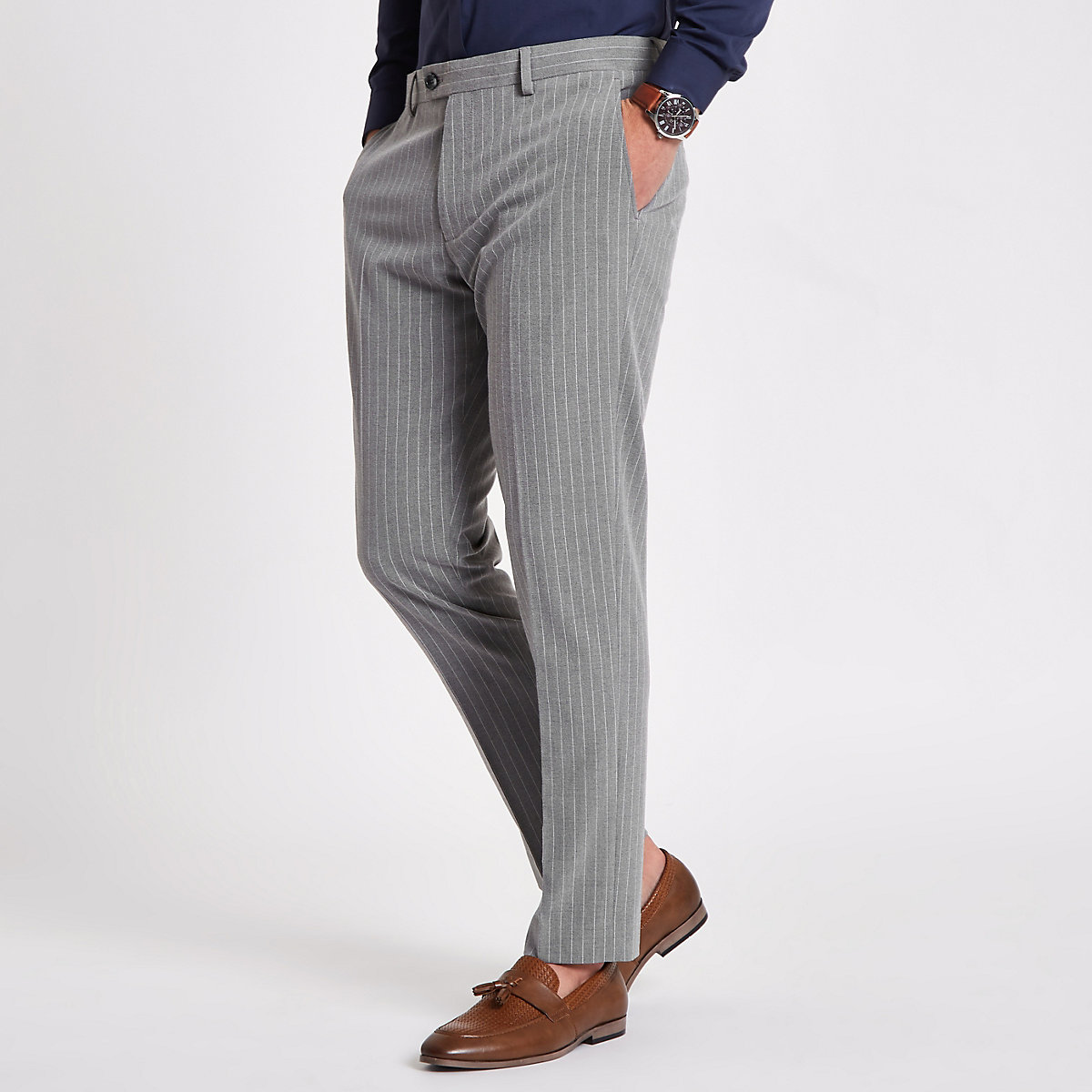 Grey stripe skinny fit suit trousers