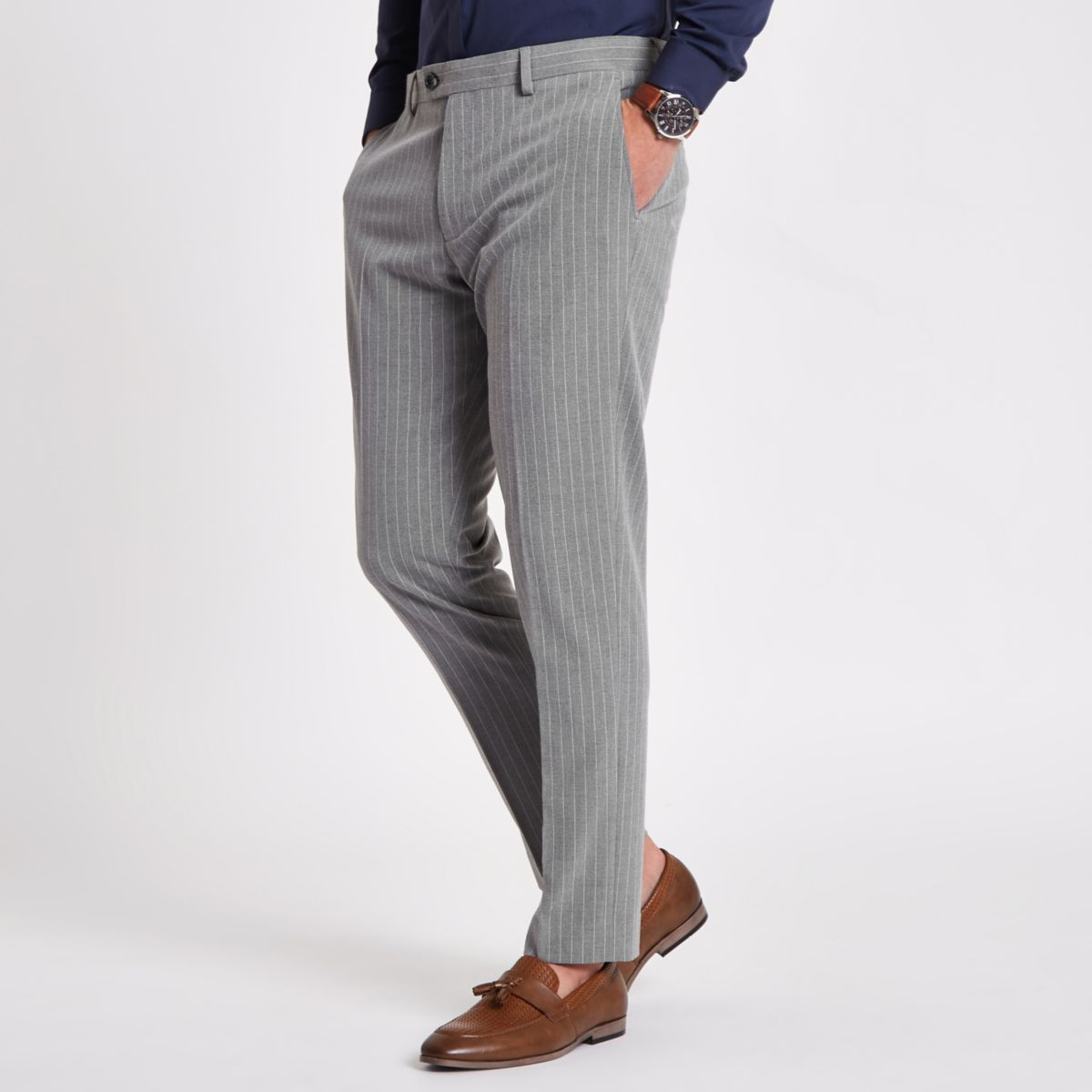 Grey stripe skinny fit suit pants