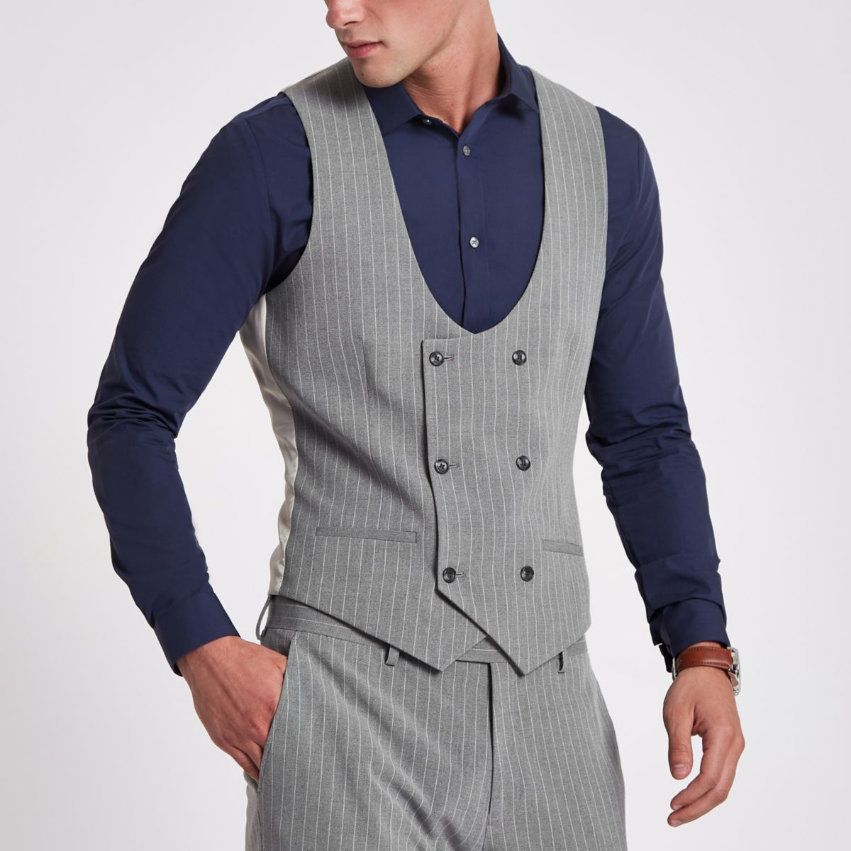 Grey stripe double breasted suit vest