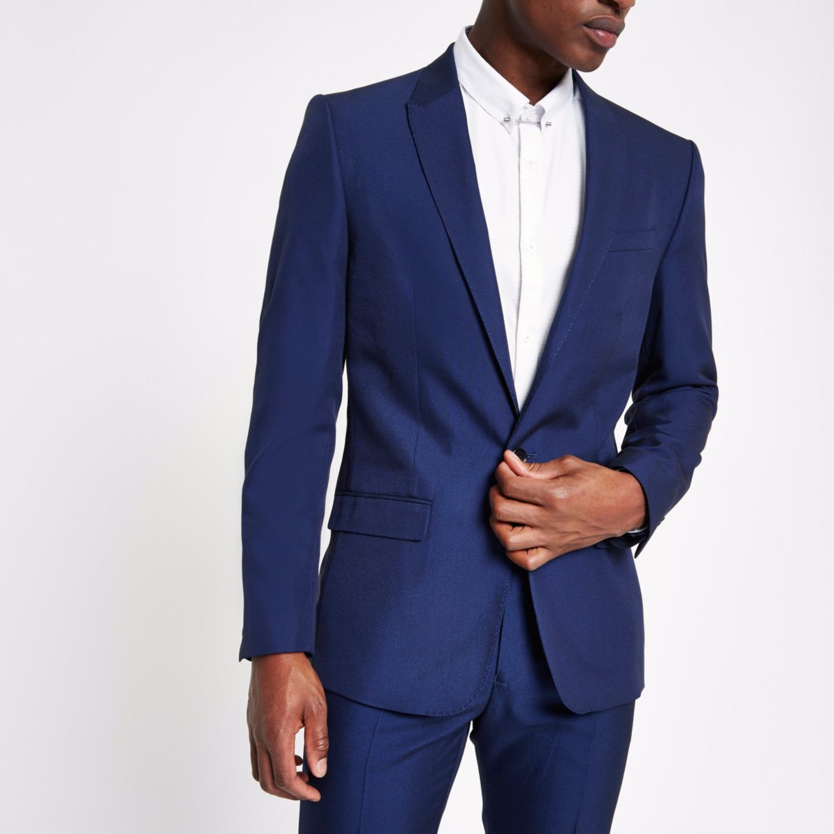 Bright blue slim fit suit jacket