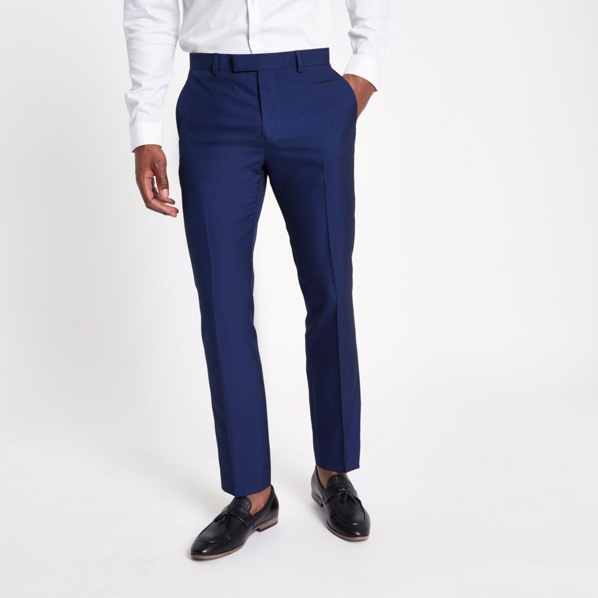 Bright blue slim fit suit pants