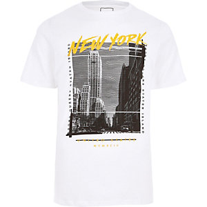 "Weißes Slim Fit T-Shirt mit ""New York""-Print"