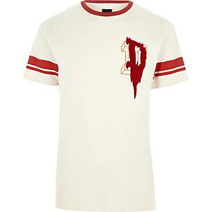Kiezelkleurig T-shirt met biezen en 'D'-print op de borst