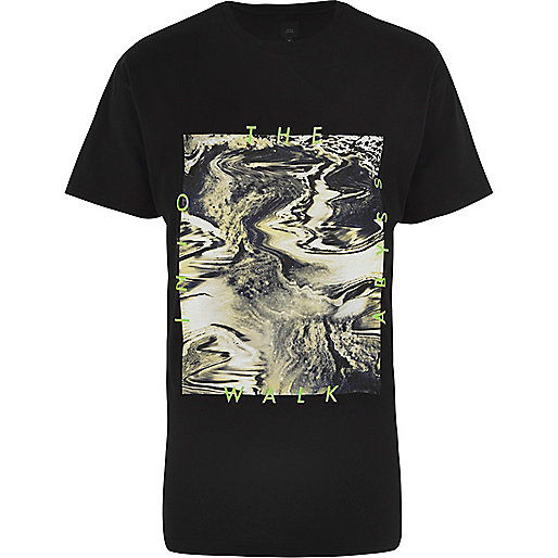 Black 'walk into the abyss' oil print T-shirt