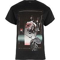 Black rose print short sleeve T-shirt