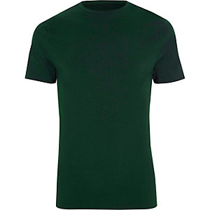 Dark green muscle fit crew neck T-shirt