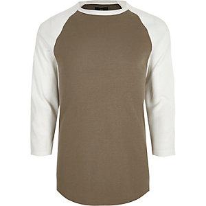 Geel T-shirt met driekwarts raglanmouwen