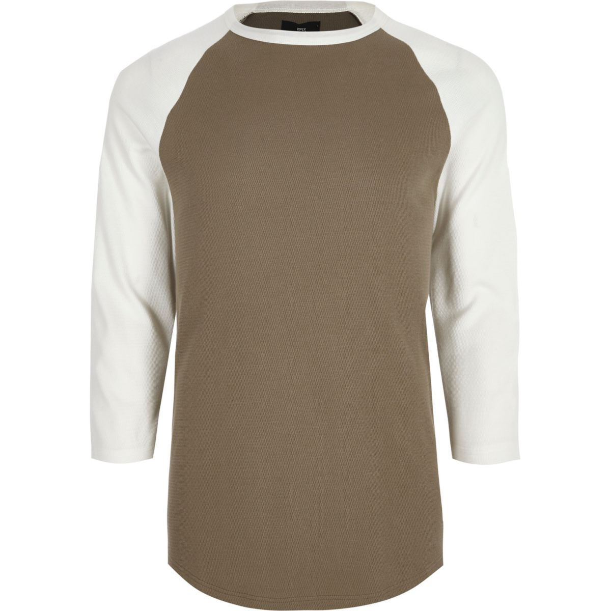 Yellow three quarter raglan sleeve T-shirt